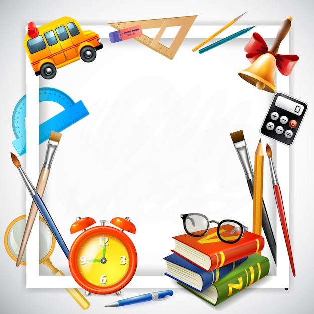 Realistic back to school illustration Free Vector