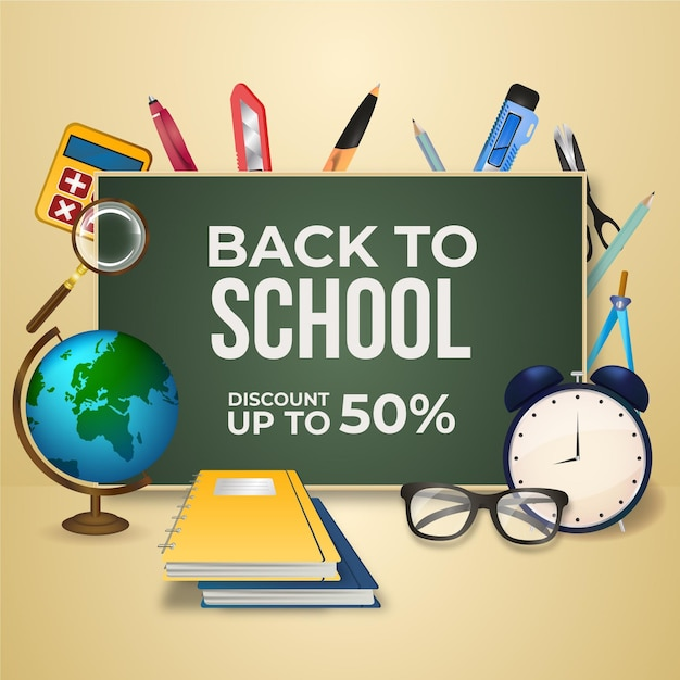 Realistic back to school sales banner Free Vector