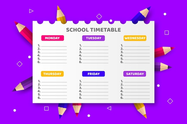 Realistic back to school timetable template Free Vector