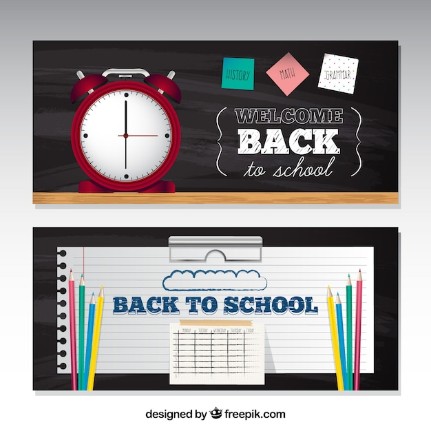 Realistic back to school banners with alarm clock and timetable
