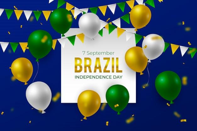 Реалистичный фон на день независимости бразилии Premium векторы