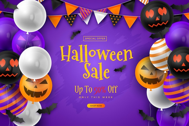 Realistic background for halloween sales Free Vector