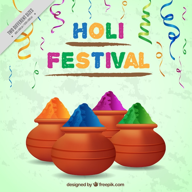 Realistic background for holi festival Free Vector