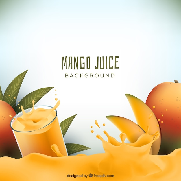 Realistic background of mango juice Free Vector