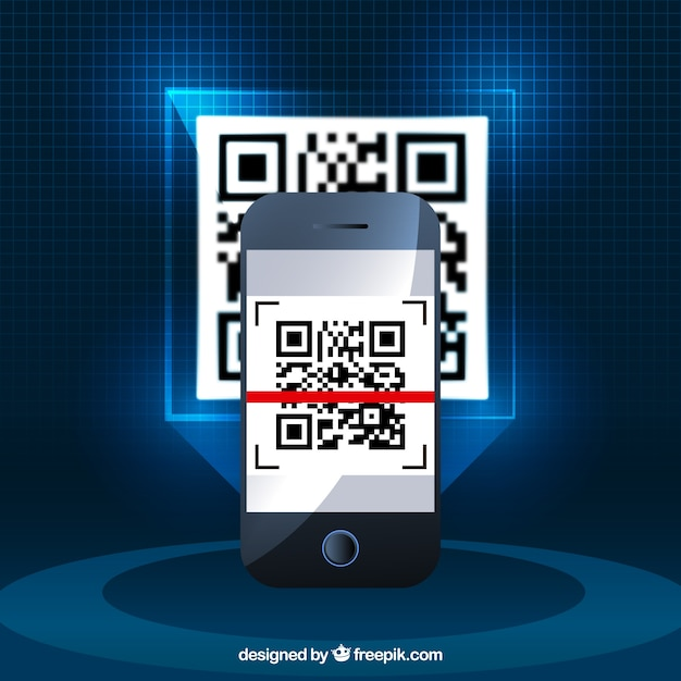 Realistic background of mobile phone with qr code Free Vector
