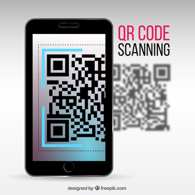 Realistic background of mobile scanning qr code Free Vector
