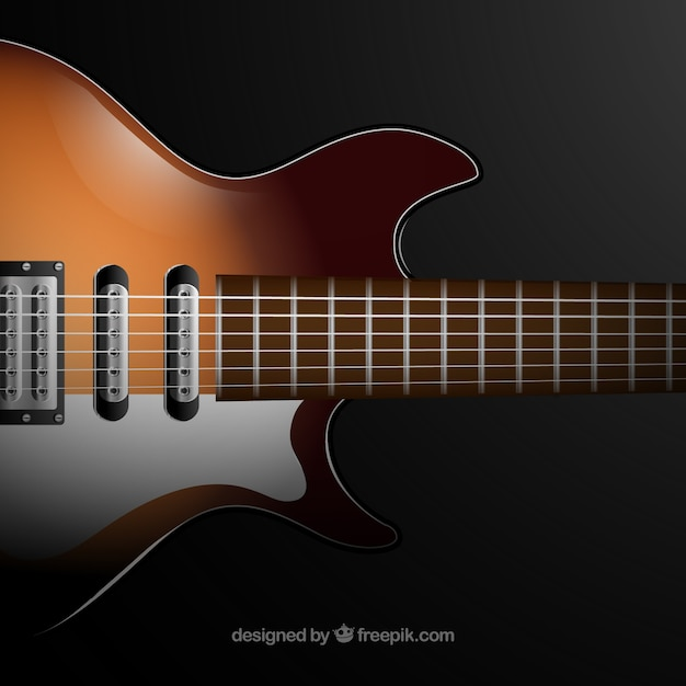 Realistic background of electric guitar Vector | Free Download