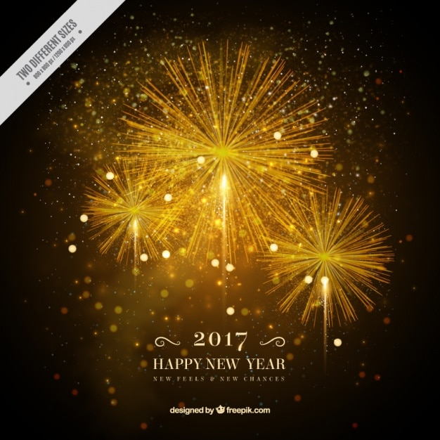 Realistic background of fireworks Free Vector
