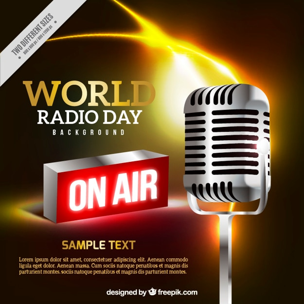 Realistic background of megaphone for world radio day Free Vector
