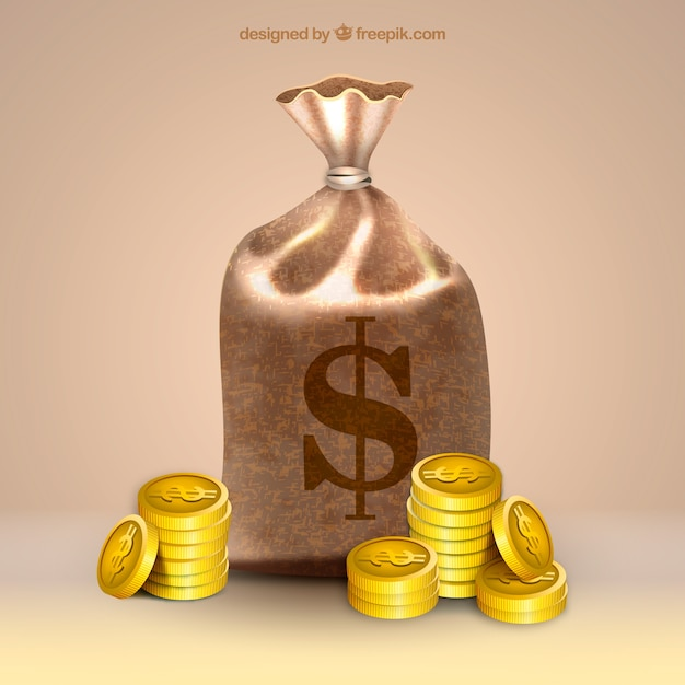 Realistic background of money bag and\ coins