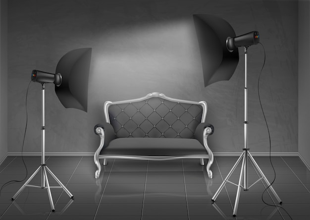 Realistic background, room with gray wall and floor, photo studio with empty sofa, couch Free Vector