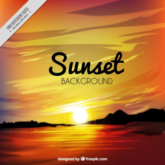 Realistic background of a sunset Free Vector