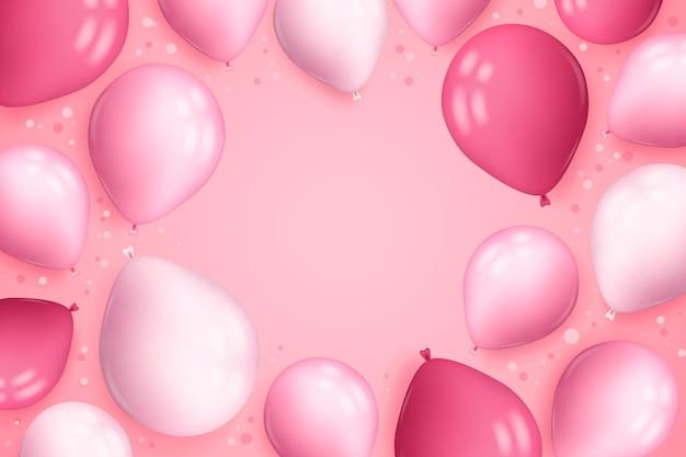 Реалистичный фон с воздушными шарами и конфетти Бесплатные векторы