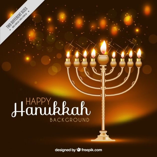 Realistic background with candelabra for hanukkah Free Vector