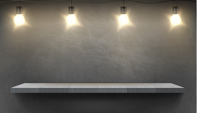 Realistic background with empty wooden shelf illuminated by electric bulbs Free Vector