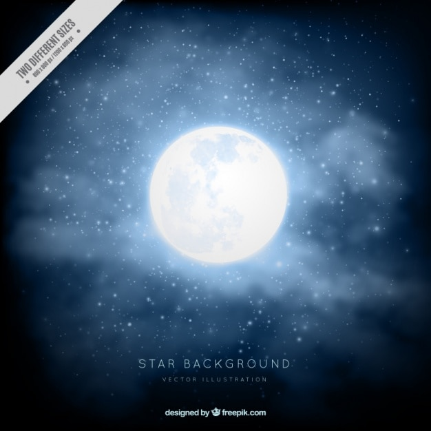 Realistic background with full moon Free Vector