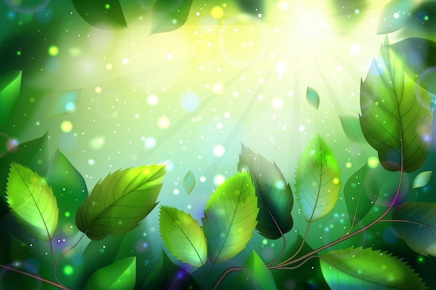 Realistic background with green leaves Free Vector