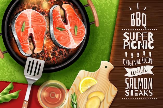 Sfondo realistico con trancio di salmone alla griglia Vettore gratuito