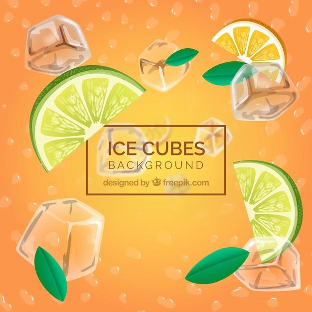 Sfondo realistico con cubetti di ghiaccio e ingredienti freschi Vettore gratuito
