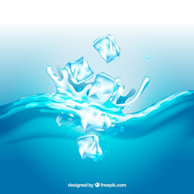 Realistic background with ice cubes and splashing water Free Vector