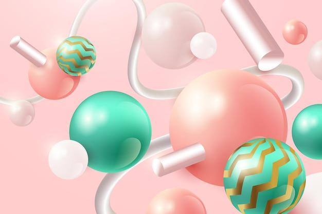 Realistic background with pink and green spheres Free Vector