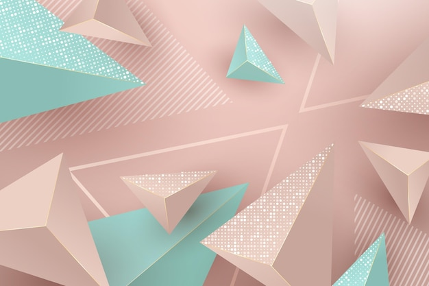 Realistic background with pink and green triangles Free Vector