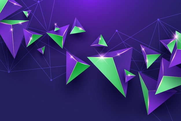 Realistic background with purple and green triangles Free Vector