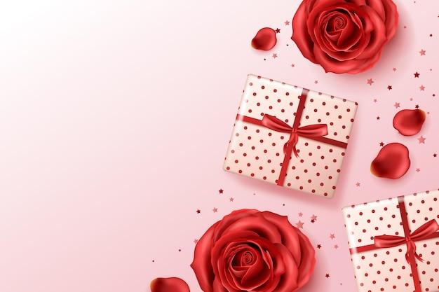 赤いバラとプレゼントのリアルな背景 無料ベクター