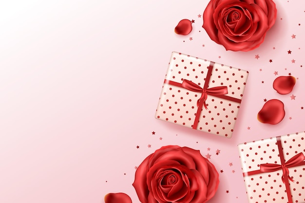 Realistic background with red roses and presents Free Vector