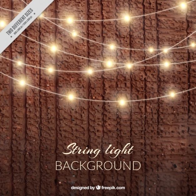 Realistic background with string lights Vector Free Download