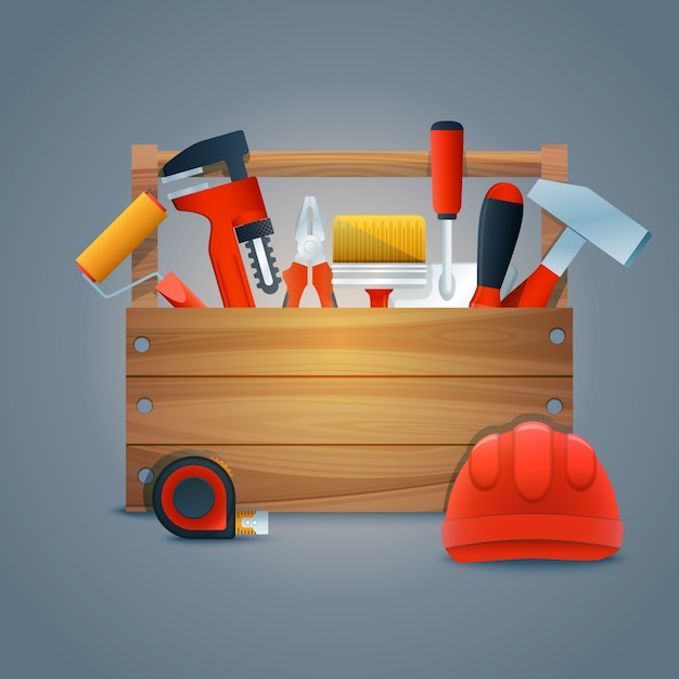 Realistic background with tools Free Vector