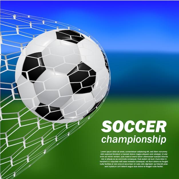 Realistic ball soccer football shot goal at the net gate with blur bokeh field Premium Vector