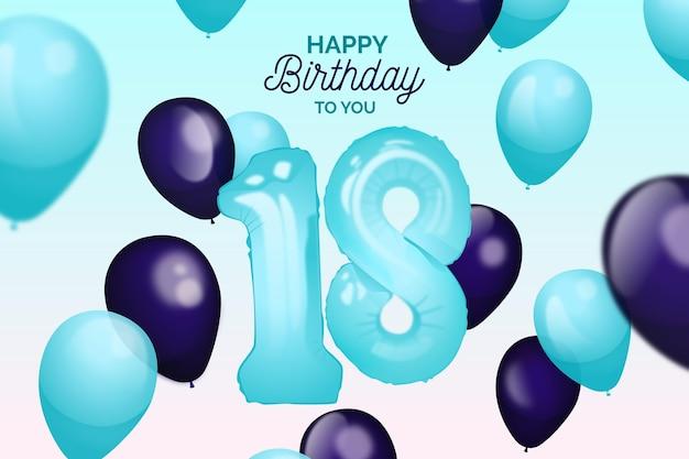 Realistic balloons birthday background Premium Vector