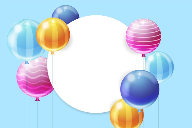 Realistic balloons design for birthday celebration Free Vector
