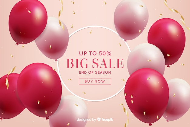 Realistic balloons floating sales background Free Vector