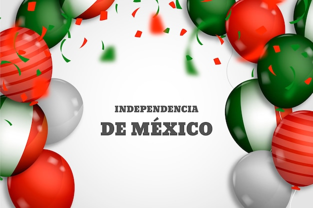 Realistic balloons on independence day of mexico background Free Vector