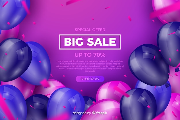Realistic balloons sales background with text Free Vector
