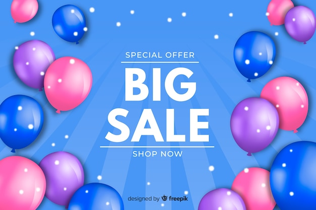Realistic balloons sales background Free Vector