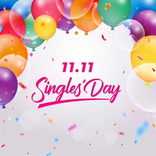 Realistic balloonssingles' day event Free Vector