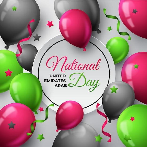 Реалистичные воздушные шары национальный день оаэ Premium векторы