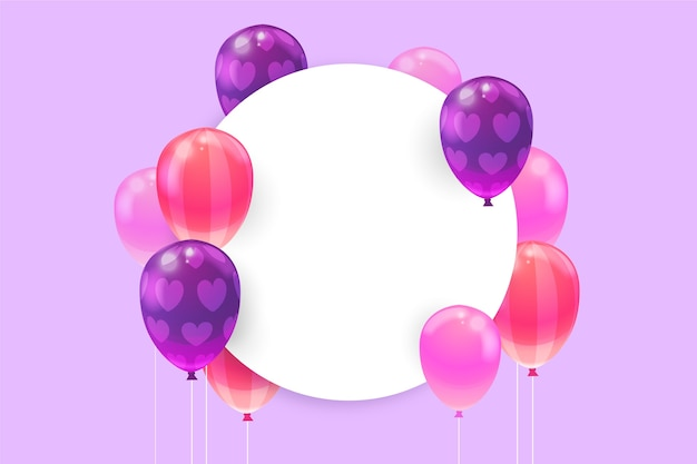 Realistic balloons with blank banner Free Vector