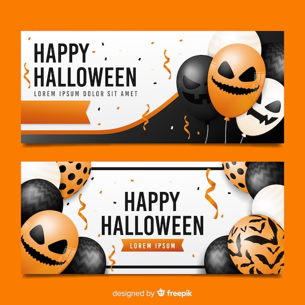 Realistic balloons with faces for halloween banners Free Vector