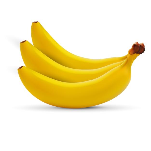 Realistic banana isolated on white Premium Vector