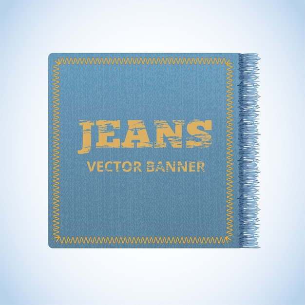 Realistic banner of jeans. realistic denim banner with texture and fringe. Premium Vector