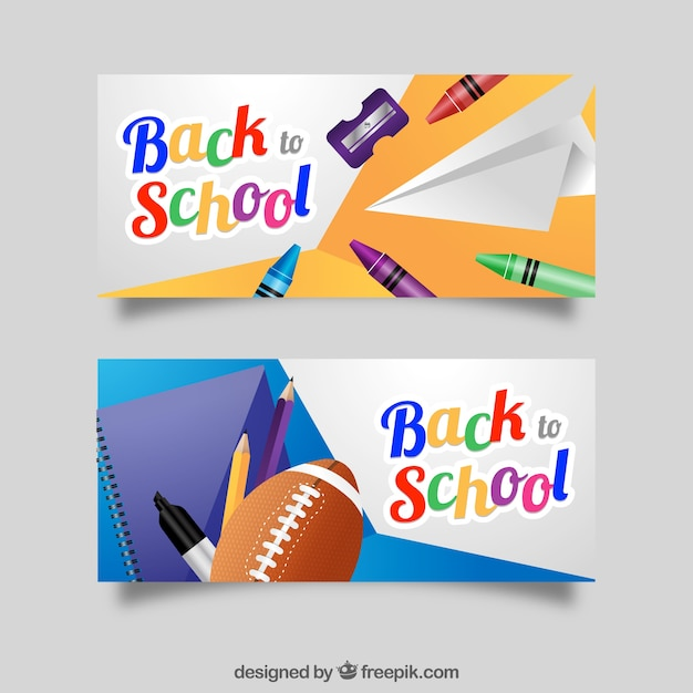Realistic banners for back to school