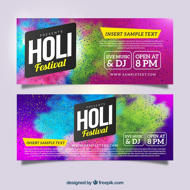 Realistic banners for holi festival Free Vector