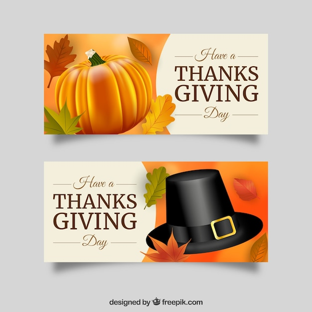 Realistic banners for thanksgiving