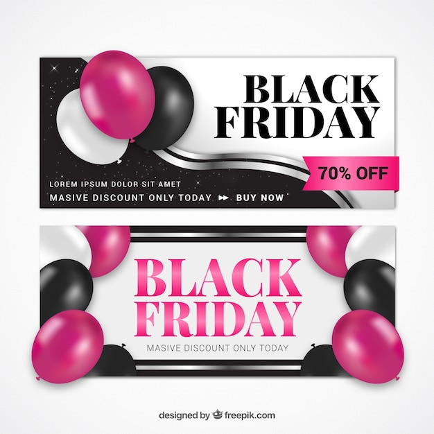 Realistic banners with balloons for black friday Free Vector