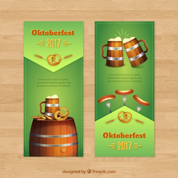 Realistic banners with beer mug, barrel and sausages
