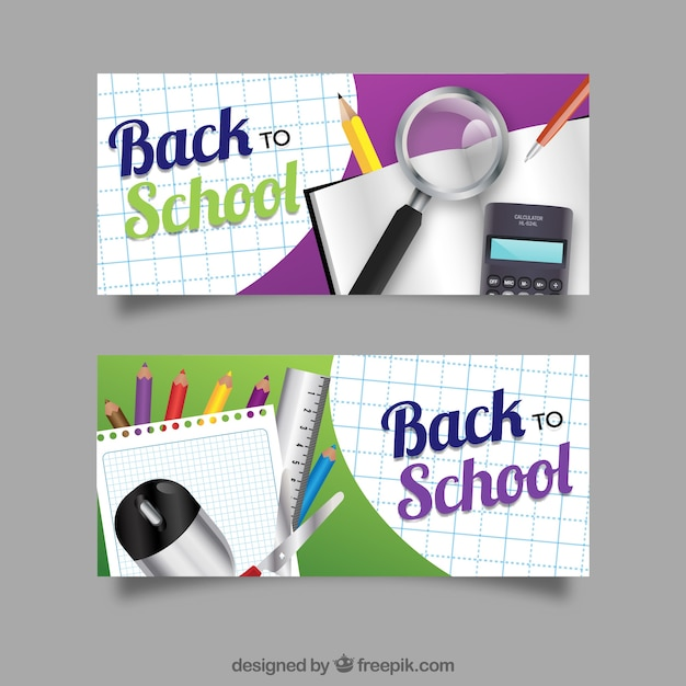 Realistic banners with school materials